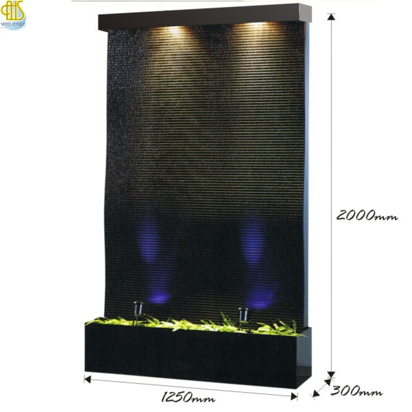 Smooth Waves Indoor Waterfall Floor Fountain Size & Dimension