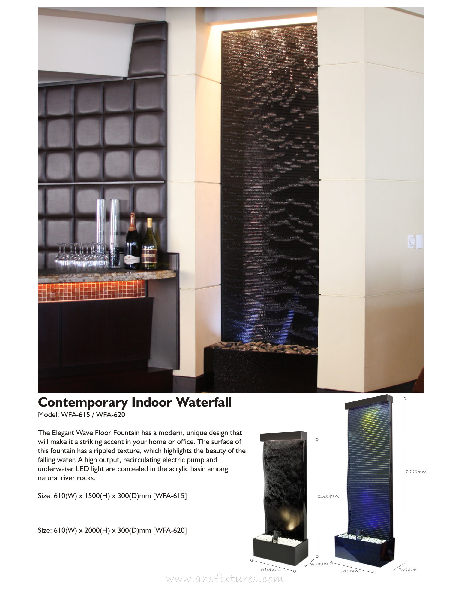 WFA-620 Contemporary Indoor Waterfall Fountains